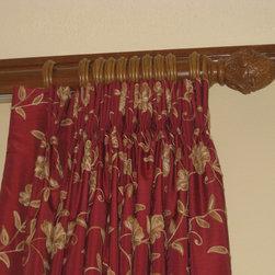 Custom Window Treatments - Crewel fabric pinch pleat drapery on wood rod traversing system