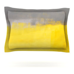 "Kess InHouse - CarolLynn Tice ""A Simple Abstract"" Yellow Gray Pillow Sham (Cotton, 30"" x 20"") - Pairing your already chic duvet cover with playful pillow shams is the perfect way to tie your bedroom together. There are endless possibilities to feed your artistic palette with these imaginative pillow shams. It will looks so elegant you won't want ruin the masterpiece you have created when you go to bed. Not only are these pillow shams nice to look at they are also made from a high quality cotton blend. They are so soft that they will elevate your sleep up to level that is beyond Cloud 9. We always print our goods with the highest quality printing process in order to maintain the integrity of the art that you are adeptly displaying. This means that you won't have to worry about your art fading or your sham loosing it's freshness."