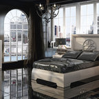 Sophie Collection. Queen bed S35. - Queen bed. Nightstand with 2 drawers with soft closed.