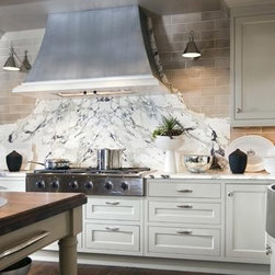 """The Mont Blanc kitchen range hood - Francois & Co - The modern """"Mont Blanc"""" stone kitchen range hood has a gentle taper on its face and sides giving it a quiet elegance."""