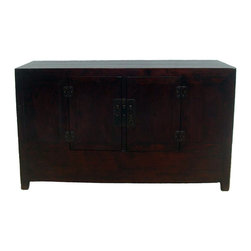 Antique Gansu Sideboard - This antique sideboard has wonderful patinas in rich dark red and black color. The attached door hinges are used, instead of pivoting on round pegs. Two shelves provide abundant storage room.