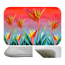 """usa - Bird Of Paradise Bath Mat,  20"""" X 15"""" - Bath mats from my original art and designs. Super soft plush fabric with a non skid backing. Eco friendly water base dyes that will not fade or alter the texture of the fabric. Washable 100 % polyester and mold resistant. Great for the bath room or anywhere in the home. At 1/2 inch thick our mats are softer and more plush than the typical comfort mats. Your toes will love you."""