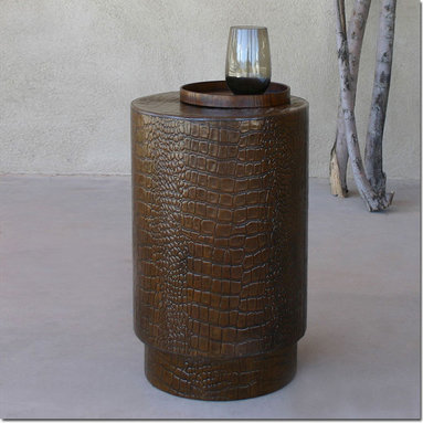 Crocodile Leather Side Table - Classic, small side table in Tobacco Brown leather embossed with the look of Crocodile. Perfect as a spot to rest a drink or book beside an upholstered armchair or as a extra stool when company comes over.
