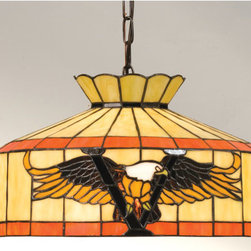 """Meyda Tiffany - Meyda Tiffany 13872 Stained Glass / Tiffany Down Lighting Pendant Victo - 16"""" W Victory Eagle Swag PendantThe American Bald Eagle Has Long Been A Symbol Of Freedom And Majesty. This Swag Pendant Featuring The Majestic Bird Soaring Over A Victory V Is Crafted with Amber and Brown Glass on a Beige shade with Multi Toned Amber Green BandsIncludes Canopy, 12 Feet of Chain and 15 feet of wire, Height Adjustable from 12.5"""" to 155.5""""1 100w max medium base bulb (Not Included)"""