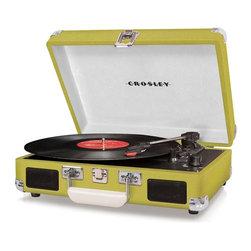 Crosley Radio - Cruiser 3-Speed Portable Turntable - Green - Belt driven turntable mechanism.