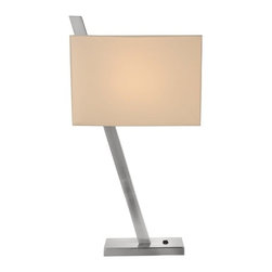 Design Classics Lighting - Diagonal Table Lamp with Square Shade - 802-09 - The angled body matched with a square linen shade brings a fresh, modern look to a bedside, end table, or desk. The shade measures 12-1/4 x 6-3/4-inches on the top and bottom by 8-1/2-inches in height. Takes one bulb (not included) and turns on via the rocker switch located on the base of the lamp. Takes (1) 60-watt incandescent A19 bulb(s). Bulb(s) sold separately. Dry location rated.