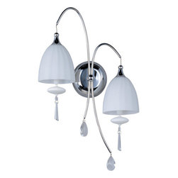 ET2 - ET2 E24352-11 2 Light Wall Sconce Chute Collection - Bulbs Included - ET2 E24352-11 Chute 2 Light Wall SconceWith its matte white blown glass dome, this beautiful 2 light wall sconce will make a great addition to any room. The adjustable cables, matching glass ornament, and beveled crystal finials take this fixture to the next level of elegance.Chute collection's blown glass domes, available in Matte White or Mirror Chrome, suspend in the air by adjustable cables. Highlighted by the light are matching glass ornaments and beveled crystal finials. Unique canopies and hardware of Polished Chrome add to the eclectic nature of this design.ET2 E24352-11 Features: