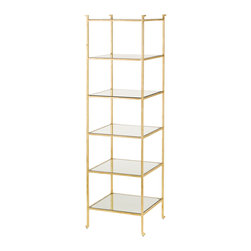 Kathy Kuo Home - Classic Hollywood Regency Gold Leaf Narrow Etagere Display Shelf - Gold is always a great investment, especially when it is a narrow gold leaf shelf unit.  Whether your tastes are Mid Century or Hollywood Regency or even art deco, any modernist with a dedication to elegance will easily find a place  in their home for this beauty.