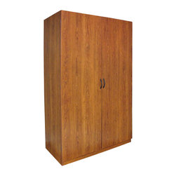 Ameriwood - Ameriwood Wardrobe in American Cherry - Ameriwood - Wardrobe Armoires - 7203091Y - The Ameriwood Wardrobe in American Cherry comes in a classic look that matches any room decor. Behind its doors is ample storage space: a large overhead shelf for storing sizeable items separated bars for hanging shirts and pants and two bottom shelves for shoes. Guaranteed to de-clutter your room and keep everything in one place!