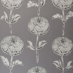 Dahlia Wallpaper by Clarke & Clarke - The stylized dahlias and the dark gray background of this wallpaper would appeal to both men and women, don't you think?