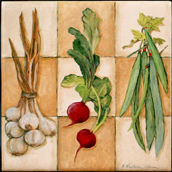 "Tile Art Gallery - Fresh Veggies II - Ceramic Accent Tile, 6 in - This is a beautiful sublimation printed ceramic tile entitled ""Fresh Veggies II"" by artist Charlene Olson. The printed tile displays a vegetable medley. Pricing starts at just $14.95 for a 4.25 inch tile."