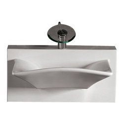 Whitehaus Collection - Whitehaus WHKN1114A Ceramic Rectangular Wall Mount Bathroom Sink Basin - Whitehaus Collection bathroom sinks are modern sleek and stylish. A great option for anyone that wants a unique and eye catching bathroom design!