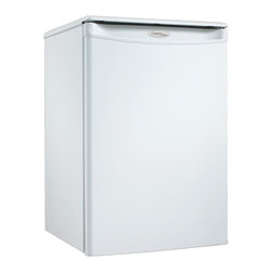Danby - 2.6 Cu Ft. Compact All Refrigerator, Auto Cycle Defrost, Energy Star - The Danby Designer DAR026A1WDD Energy Star 2.6 Cu. Ft. Compact All Refrigerator, in white, is energy efficient refrigeration in a convenient, compact unit. Perfect for small spaces, this model makes a great addition to the student dorm room or small office. It includes the CanStor beverage dispenser, tall bottle storage and a scratch resistant work top to store accessories. With a reversible door hinge, an integrated door handle and a smooth-back design, this handy refrigerator will fit almost anywhere.