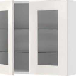 IKEA of Sweden - AKURUM Wall cabinet with 2 glass doors - Wall cabinet with 2 glass doors, birch, Ramsjö white