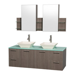 "Wyndham Collection - Amare 60"" Grey Oak Double Sink Vanity Set w/ Green Glass Top & Medicine Cabinet - Modern clean lines and a truly elegant design aesthetic meet affordability in the Wyndham Collection Amare Vanity. Available with green glass or pure white man-made stone counters, and featuring soft close door hinges and drawer glides, you'll never hear a noisy door again! Meticulously finished with brushed Chrome hardware, the attention to detail on this elegant contemporary vanity is unrivalled."