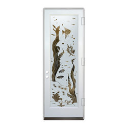 Sans Soucie Art Glass (door frame material Plastpro) - Glass Front Entry Door Sans Soucie Art Glass Aquarium Fish - Sans Soucie Art Glass Front Door with Sandblast Etched Glass Design. Get the privacy you need without blocking light, thru beautiful works of etched glass art by Sans Soucie!  This glass is semi-private.  (Photo is view from outside the home or building.)  Door material will be unfinished, ready for paint or stain.  Bronze Sill, Sweep.  Satin Nickel Hinges. Available in other finishes, sizes, swing directions and door materials.  Tempered Safety Glass.  Cleaning is the same as regular clear glass. Use glass cleaner and a soft cloth.