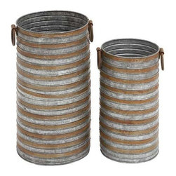 BZBZ49111 - Cylindrical Shaped Metal Galvanized Planter Set of Two with Side Handles - Cylindrical shaped metal galvanized planter set of two with side handles. Some assembly may be required.
