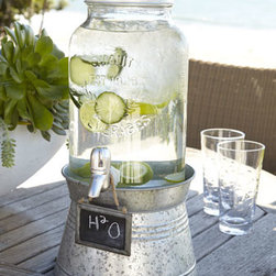'Oasis' Beverage Server with Galvanized Stand - Infused water is such a refreshing and budget-friendly way to quench the thirst of a crowd. Serve your cucumber water in style this summer with this industrial-chic beverage server. The galvanized stand and chalkboard sign lend the perfect amount of country-summer charm.