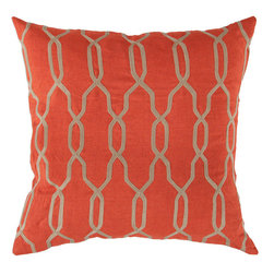 Surya - Surya Orange Interlocking Pillow -