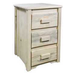 "Montana Woodworks - Homestead Nightstand with 3 Drawers, Lacquered - From Montana Woodworks, the largest manufacturer of handcrafted, heirloom quality rustic furnishings in America comes the Homestead Collection line of furniture products. Handcrafted in the mountains of Montana using solid, American grown wood, the artisans rough saw all the timbers and accessory trim pieces for a look uniquely reminiscent of the timber-framed homes once found on the American frontier. This taller, three drawer nightstand is just the right height for todays higher beds! The drawers measure 11.5"" W x 16.5"" D x 5.25"" H (inside measurements). This item comes professionally finished with three coats of premium grade clear lacquer. Comes fully assembled. 20-year limited warranty included at no additional charge.; Hand Crafted in Montana U.S.A.; Solid, U.S. grown genuine lodge pole pine wood; Timbers and Trim Pieces are Sawn Square for Rustic Timber Frame / Barn wood Design Appearance; Heirloom Quality; 20 Year Limited Warranty; Durable Build, Fit and Finish; Each Piece Signed By The Artisan Who Makes It; Solid Wood, Edge Glued Panels; Easy Glide Drawer Slides; Weight: 48 lbs; Dimensions: 20""W x 20""D x 30""H"