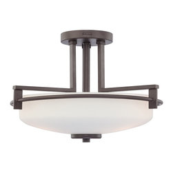 Quoizel - Quoizel TY1716WT Taylor Transitional Semi Flush Mount Ceiling Light - Large - Linear style and precise design are the elements of this strong contemporary collection.  The opal etched glass compliments both the western bronze as well as the antique nickel finishes.  With a variety of styles to choose from, Taylor will enhance any room in your home.