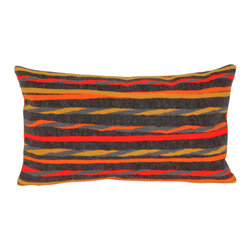 """Twist Stripe Grey Warm Print 12"""" X 20"""" Throw Pillow - This wonderful indoor / outdoor decorative throw pillow looks great in living rooms or patios or wherever you want a dash of color. Made of 100% polyester microfiber. The cover has a zipper closure so you can take out the fiberfill inner pillow for hand-washing if you need to. The pillow measures 12 inches by 20 inches."""