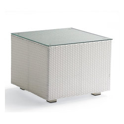 Frontgate - Metropolitan White Glass-top Outdoor Side Table, Patio Furniture - Durable bronze-hued Viro ® Wicker is woven over rust-resistant aluminum frames. Polished stainless steel legs create a substantial feel and sleek look. High-performance, solution-dyed acrylic cushions are included. Accent tables have tempered glass tops. Transfer indoor comfort and sophistication to any outdoor space with our 2011 Metropolitan Outdoor Seating Collection. The clean, modern lines and flawless construction blend chic city sensibility with all-weather wicker and stainless steel. Durable bronze-hued Viro Wicker is woven over rust-resistant aluminum frames .  .  .  .