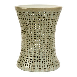 IMAX CORPORATION - Moers Cutwork Garden Stool - Add a zen-like feeling to any outdoor garden or patio with this ornate garden stool with cutwork design. The intricate carvings and design have an organic tribal feel. Whether you choose to use this stool as a seat or a garden accessory, you will love the beauty it adds to your outdoor garden or patio. Find home furnishings, decor, and accessories from Posh Urban Furnishings. Beautiful, stylish furniture and decor that will brighten your home instantly. Shop modern, traditional, vintage, and world designs.