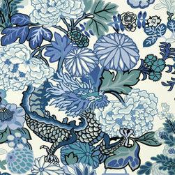 Schumacher - Chiang Mai Dragon Wallpaper, China Blue - One of Schumacher's best-loved designs, Chiang Mai Dragon was originally derived from an exuberant 1920's Art Deco era block print.