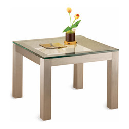 Parsons Table Base - TLPAR - The classic design of classic table designs. Now we've made a classic into a contemporary design, done in extruded Satin Aluminum instead of wood. It is shipped unassembled, ready for your own glass, marble or other top.