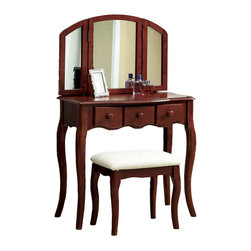 Adarn Inc. - Tri-Folding Mirror 3PC Wood Make Up Table Padded Bench Drawers Vanity Set, Cherr - This vanity set features tri-folding mirror and 3 drawers make up table. Perfect for placing your brushing items. Add elegance to your bedroom. Finished in white / cherry and constructed of wood with great quality.