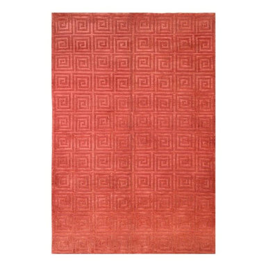 Safavieh - Hand-Knotted Greek Key Rug in Rust - Choose size: 8 ft. x 10 ft. Hand knotted.
