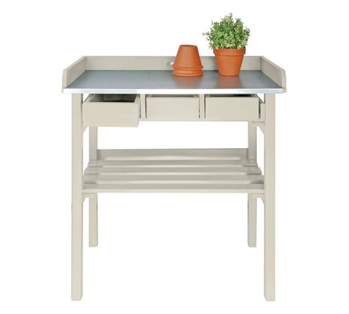 Esschert Design - Garden Work Bench, White - Expand in the farm folklore collection to make any garden appeal with a country cottage setting!