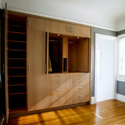 Closets - We do all manner of in-closet organization cabinetry as well as conversions of traditional reach-in closets to built-in wardrobe walls.