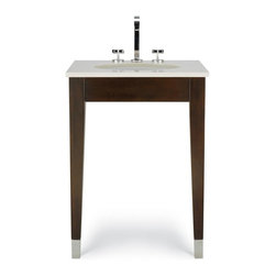 Cole & Co - Custom Clarissa Vanity (Small) - Choose Size: Small. Includes installation kit and hardware. Vanity top, sink and faucet not included. Contemporary style. Hotel chic shape. 30 step finishing process. Accurate and consistent construction. Tapered legs with solid stainless steel leg caps. Made from select alder solids with select cherry veneers. Espresso finish. Assembly required. Small: 25 in. W x 22 in. D x 35 in. H. Medium: 31 in. W x 22 in. D x 35 in. H. Large: 37 in. W x 22 in. D x 35 in. H. Care and Cleaning InstructionsThe classic contemporary design of Cole's Clarissa Vanity from its well-known Custom Collection features a sleek look like bath vanities from many of the finest modern hotel and resorts.