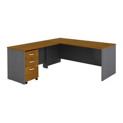 BBF - Bush Series C 3-Piece L-Shape Computer Desk in Natural Cherry - Bush - Office Sets - WC72436PKG1 - Bush Series C 48 inch Return Bridge in Natural Cherry (included quantity: 1) The Bush Series C Return Bridge offers you a refined approach to expanding your workspace. This fine return bridge offers a large work surface in performance-enhanced melamine that resists scratches and stains. Features: