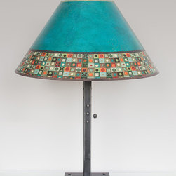 Jade Mosaic Table Lamp with Large Conical Shade - Large conical shaded table lamp. Hand forged, welded steel & reclaimed wood base. Steel oxide pewter finial and pull charm. Shades: archival giclees, handmade, signed, dated and hallmarked. Max Watt: 100. Accommodates incandescent, CFL and LED bulbs. UL Listed.