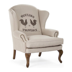 """Kathy Kuo Home - Zacharie """"Moulins"""" French Country Nail Head Wing Chair - Classic lines and a whimsical, slightly casual pattern are combined masterfully into this monotone club chair which bears all the hallmarks of a slightly urban, yet rustic take of Provencal style. City lofts, country homes, and more will all find the """"Moulins"""" a welcome addition."""