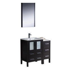"""Fresca - Torino 36"""" Espresso Vanity w/ Side Cabinet & Integrated S Bevera Chrome Faucet - Fresca is pleased to usher in a new age of customization with the introduction of its Torino line.  The frosted glass panels of the doors balance out the sleek and modern lines of Torino, making it fit perfectly in eithertown or country decor."""