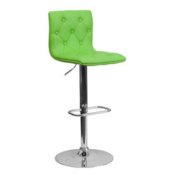 Flash Furniture - Flash Furniture Contemporary Tufted Green Vinyl Adjustable Height Bar Stool - With its buttoned and tufted detailing, this adjustable height bar stool will make a lovely contemporary accent to your kitchen, dining, or bar area. The height adjustable swivel seat adjusts from counter to bar height with the handle located below the seat. The base and footrest have a chrome finish to complement the chair's modern design. [CH-112080-GRN-GG]