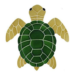 Glass Tile Oasis - Medium Natural Turtle Pool Accents Brown Pool Glossy Ceramic - We offer six lines of in-stock designs ready for immediate delivery including: The Aquatic Line, The Shadow Line, The Hang 10 Line, The Medallion Line, The Garden Line and The Peanuts Line. All of the mosaics are frost proof, maintenance free and guaranteed for life. Our Aquatic Line includes: mosaic dolphins, mosaic turtles, mosaic tropical and sport fish, mosaic crabs and lobsters, mosaic mermaids, and other mosaic sea creatures such as starfish, octopus, sandollars, sailfish, marlin and sharks. For added three dimensional realism, the Shadow Line must be seen to be believed. Our Garden Line features mosaic geckos, mosaic hibiscus, mosaic palm tree, mosaic sun, mosaic parrot and many more. Put Snoopy and the gang in your pool or bathroom with the Peanuts Line. Hang Ten line is a beach and surfing themed line featuring mosaic flip flops, mosaic bikini, mosaic board shorts, mosaic footprints and much more. Select the centerpiece of your new pool from the Medallion Line featuring classic design elements such as Greek key and wave elements in elegant medallion mosaic designs.