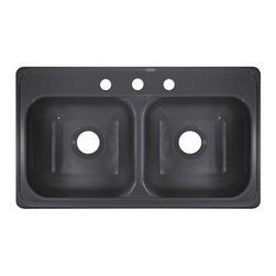 """Lyons Industries - Kitchen Sink, 33""""L x 19""""W Manufactured/Mobile Home Acrylic 9"""" Deep, Three Faucet - Lyons Industries Manufactured or Mobile home Metallic Silver acrylic kitchen sink with two large 9"""" deep sink bowls and three faucet holes. This self rimming 33""""X19"""" sink is easy to install as a remodel or new construction project. This sturdy sink has durable easy to clean high gloss acrylic construction with a fiberglass reinforced insulation backer. This sink is quiet and provides a superior heat retention than other sink materials meaning your dish water stays warm longer. Lyons sinks come with a simple mounting tab and clip system to firmly fasten the sink to the countertop and reinforced drain areas for safely supporting a garbage disposal. Detailed installation instructions include the cut-out specifications. Lyons sinks are proudly made in America by experienced artisans supporting our economy."""