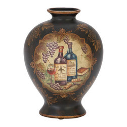 """Benzara - Ceramic Vase 12""""H, 9""""W Unique Home Accents - Size: 9 Wide x 9 Depth x 12 High (Inches); Material: Premium grade ceramics; Color: Black background with golden brown painting; Beautifully sculptured nature decor accent; Bar area decor refresher, Deep; Weather resistant; Long lasting"""