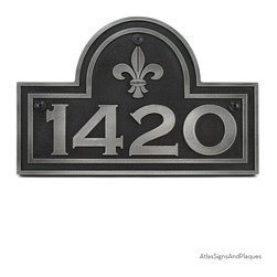 """Fleur De Lis Arch Plaque 15"""" x 10"""" in Pewter Finish - The Fleur-de-Lis, translates as Flower of the Lily and is steeped in history. From France to England, to Florence, to Religious Symbolism, the Fleur-de-Lis has represented a virtuous force for good. Combining the Fleur-de-Lis with the Classic Arch Shape and double border makes a winning combination for certain."""