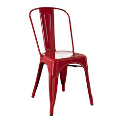 Crosley Furniture - Crosley Furniture Amelia Metal Cafe Chair in Red (set of 2) - Crosley Furniture - Dining Chairs - CF500617RE - Originally made famous in the quaint bistros of France these midcentury replicas of original cafe seating will offer a dose of nostalgia combined with careful consideration for your wallet.  This inspired revival evokes a sense of a true vintage find. (Sold in Pairs)