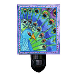 Peacock Night Light - Our Peacock Night Light will brighten any room with its soft comforting glow. It is made of a print of an original painting which is sandwiched in between two layers of durable acrylic. The light is UL approved and comes with a standard four watt night light bulb. Gift box included. Made in the USA. (Be sure to look for our peacock wall clock and magnets, too!)