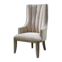 "Uttermost - Uttermost 23117  Zyla Chenille ArmChair - Almond beige chenille channel back surrounded by animal stripes in coordinating neutrals and outlined by matte champagne accent nails. solidly constructed in pine and select hardwoods with reinforced joinery and washed in a light tan, rubbed finish. seat height is 20""."
