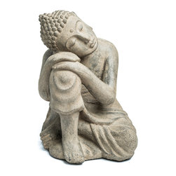 Repose Home - Dwelling Buddha, Stone Grey - Our beautiful, resting Buddha will be ideal for a special place in your garden. Cast in elegant, stonewashed volcanic ash and weatherproofed for indoor or outdoor use.