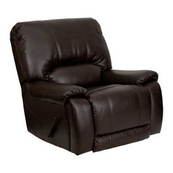 Flash Furniture - Flash Furniture Brown Bonded Leather Recliner - This motion recliner will provide you comfort with the added bonus of the rocking feature. The rocker recliner can not only be used in the living room but makes for a great nursery chair. The gentle back and forth rocking is soothing to both babies and adults. This recliner features thick cushion padding to relax while watching a movie reading a good book or doing nothing! The durable leather upholstery allows for easy cleaning and regular care. [MEN-DSC01029-BRN-GG] Operating out of Etowah GA (with a warehouse in Reno NV) Flash Furniture specializes in bold upbeat décor for home office or commercial spaces. With a wide array of colors and fashions to fit your budget Flash Furniture accommodates your every need. Features include Plush Oversized Recliner Extra Wide Design Made of Eco-Friendly Materials Overstuffed Padded Seat Back and Arms Rocker Feature Lever Recliner Brown LeatherSoft Upholstery LeatherSoft is leather and polyurethane for added Softness and Durability CA117 Fire Retardant Foam. Specifications Seat Size: 20W x 21D Back Size: 35W x 25H Arm Height From Floor: 23H Arm Height From Seat: 4H Seat Height: 20.75H Color: Brown Upholstery: Brown Bonded Leather.