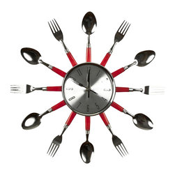 "Home Essentials - Red Utensil Flat Kitchen Wall Clock - Wall clocks are a great decor to adorn your kitchen or restaurant walls. This utensil wall clock makes for a unique gift for homes too. It sports red plastic spoons and forks in a sunburst fashion to add to the kitchen clock's whimsical charm. * 14"" Diameter"